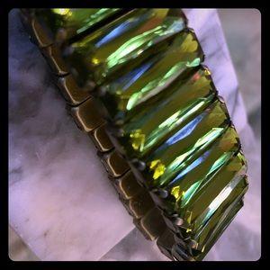 Jewelry - Olive green jewelled stretchy bracelet